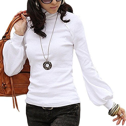 LATH.PIN Donna Maniche Lunghe Dolcevita Camicetta Tunica T-shirt T13 (formato XS alla S)