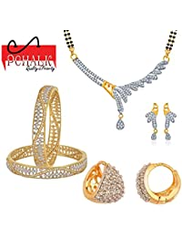 Pchalk Designer Jewellery American Diamond Gold Plated Partywear Collection Bangles, Mangalsutra And Earrings...