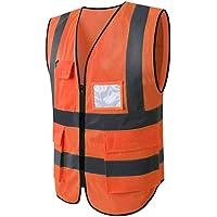 HYCOPROT Hi Vis Viz High Visibility Reflective Safety Vest Waistcoats Jacket Workwear Executive Zip 2 Band Security…