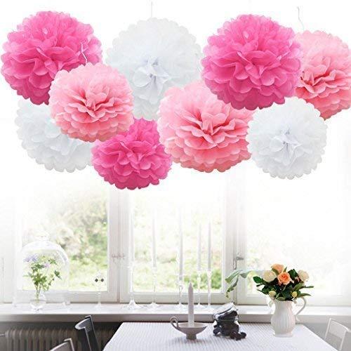 nging Paper Pom-poms, Blume Ball Hochzeit Outdoor Dekoration Premium Seidenpapier Pom Pom Blumen Craft Kit (Rosa & White) ()