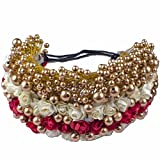 Majik Hair Accessories Gajra & Veni For Hair Styling Free Big 1 Donut 18 Cm (Red White + Golden)