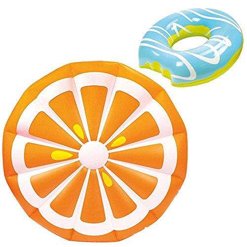 2-teiliges Luftmatratze/Schwimmring-Set XXL Orange (150cm) + Mega Donut (Blau) - Die echten Hingucker an Strand & Pool!