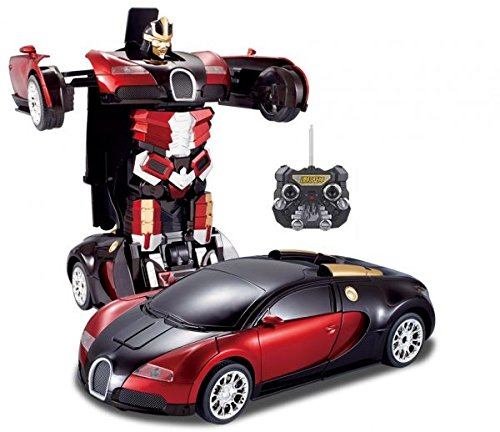 NMIT Bugatti Veyron Style 2.4Ghz Transformers RC ROBOT Remote Control Car Talking Autobot RC Drifting Car & Robot - Sound Lights - One Touch Transform Rechargeable Radio Controlled RC Car (Red/Black)