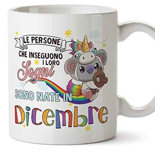 MUGFFINS Tazza Koala Compleanno dicembre - Idee Regali Originali et Divertenti per Uomo e Donna - per lui/per lei - per i bambini. Ceramica 350 mL