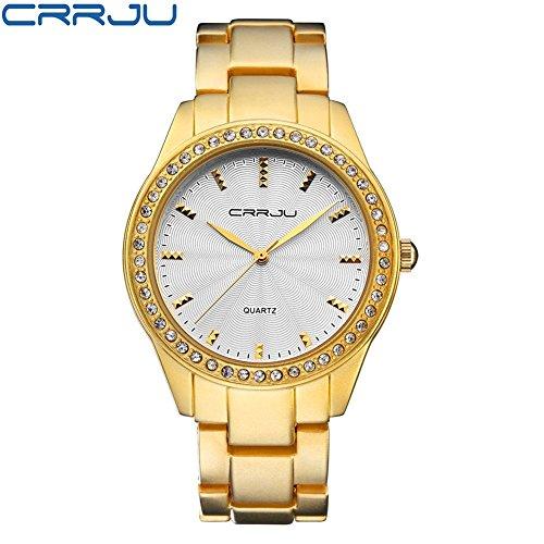 Lady Quarzuhr, 3Farben Fashion Frauen Diamant Besetzt Wasserdicht Quarz Armbanduhr mit Verstellbarem Stahl Band, Gold