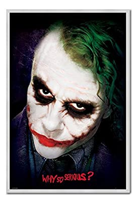 The Dark Knight Joker Why So Serious Poster Tableau d'Affichage magnétique Cadre Argent – 96,5 x 66 cm (environ 96,5 x 66 cm)
