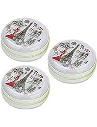 Stealodeal Round Aluminium Zipper Headphone Case Paris PC-05  Pack Of 3  (Multicolor) (All Earphones )