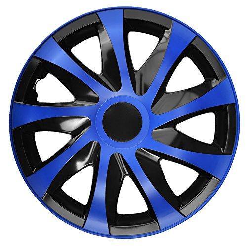 4-er Set Radkappen Radzierblenden Draco CS 14 Zoll 14'' schwarz blau black blue Blau 14