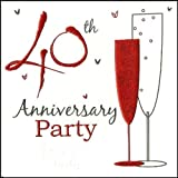 Party Einladungen zum 40. Hochzeitstag holographisch 6Karten mit Umschlägen