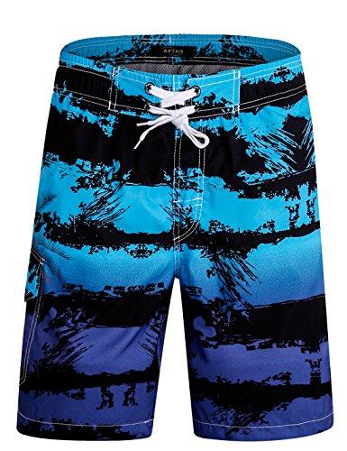 APTRO Herren Shorts Freizeit Casual Mode Urlaub Strandshorts Sommerhose Jun Blau 1803 XL