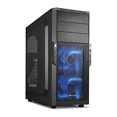 Sharkoon T3-W PC-Gehäuse (Schnellverschlüsse, 2x 120-mm-LED-Lüfter vorinstalliert, USB 3.0) blau