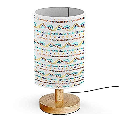 Beleuchtung Holzsockel Dekorative Tabelle Nachttischlampe Glasmalerei Dreieck Muster -