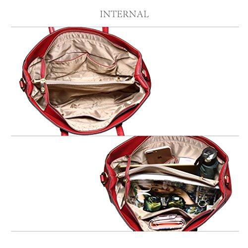 LeahWard® Damen Große Größe Patent nett Tragetaschen Groß Mode Essener Schulter HandTaschen Schule A4 394 Schultertasche-Burgundy