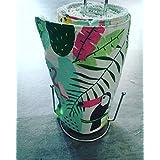 essuie tout lavable, en éponge et coton, zéro déchet, thème tropical avec toucan et flamant rose, idée cadeau, fait main