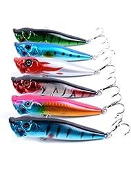 6pcs/lot engaña la pesca 9.5cm/12g 6 colores disponibles popper señuelo duro del cebo de pesca de peces ojos 3d # 4 de alto carbono gancho de anclaje de acero