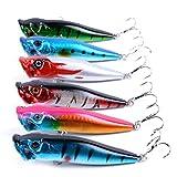 6pcs/lot leurres de pêche 9.5cm/12g 6 couleurs disponibles appâts de pêche dur leurre popper yeux 3d de poissons 4 # haute teneur en carbone de crochet d'ancrage en acier