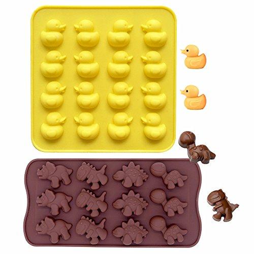 Ensemble de 2 Plateaux à Moules en Silicone pour Chocolats, Bonbons et Glaçons, IHUIXINHE antidérapant très resistant Mini Moules Silicone Chocolat Forme Petit canard jaune & Dinosaures- 100% Sur Pour Enfants