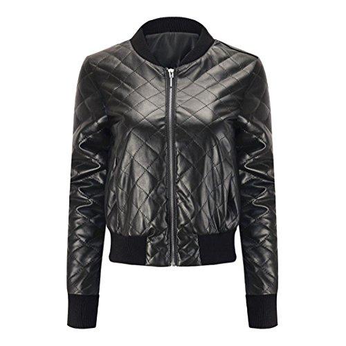 VEMOW Herbst Frauen Mode Schlank Leder Revers Jacke Top Bluse Jacke Winter Stepp Bomber Leichte Packable Casual Tägliche Kapuze Mantel(Schwarz, EU-42/CN-XL)