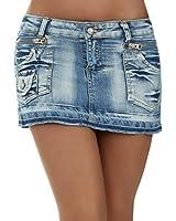 novinha Damen Jeans Rock Minirock