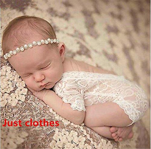 Interesting® Neue Kinderfotos Weiße Spitze Siamese Neugeborene Kleidung Mädchen Baby Bodys Einhundert Tage Fotos Kleid