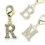 Bungsa R - Buchstaben Charm Gold 14 Karat Anhänger für Kette Armband Ohrringe Kristall Damen Herren (Kettenanhänger Pendant Beads A B C D E F G H I J K L M N O P Q R S T U V W X Y Z Brass Schmuck)