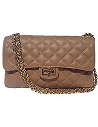 CARLA Small ZIP Italienische Damen Handtasche, Schultertasche, eleganter City Shopper, Abendtasche mit Goldkette oder dunkler Silberkette & Leder. Made in Italy