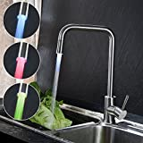 KNISE Contemporary LED Kitchen Mixer Sink Taps with 360 ° Rotating Spout Kitchen Faucet Hydroelectric power ( No need battery) Colorful LED Faucet Light, Stainless Steel (Brushed )