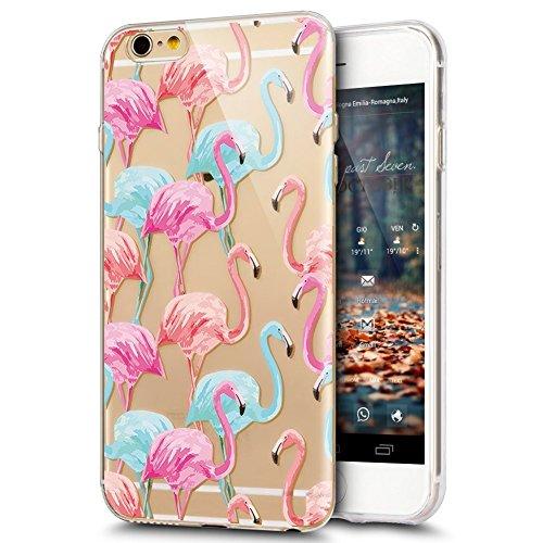 Coque iPhone 5S, iPhone SE Coque en Silicone, SainCat Ultra Slim Transparent Silicone Case Cover pour iPhone 5/5S/SE, Coque Silicone 3D Flamingo Coque Anti-Scratch Soft Gel Cover Coque Caoutchouc Tran Flamme Rose Bleu