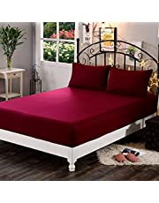 "Dream Care™ Waterproof Dustproof Terry Cotton Mattress Protector for King Size Bed - 78""x72"", Maroon"