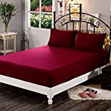 Dream Care Terrycloth Waterproof Dustproof Mattress Protector for King Size Bed (Maroon, 72X78-inch)