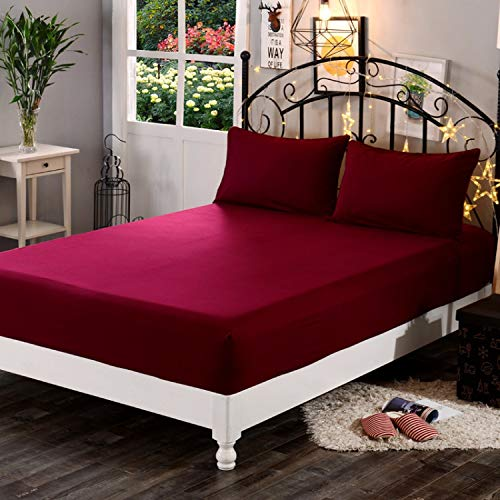 "Dream Care Waterproof Dustproof Terrycloth Cotton Mattress Protector for Queen Size Bed (Maroon, 78"" x 60"")"