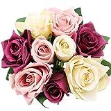 Meetu DIY Fleurs artificielles en Soie, 9 Fleurs artificielles de Mariage de Rose de têtes, Fausses Fleurs de Vrai Contact de Rose (Mixte)