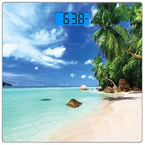 Precision Digital Body Weight Scale Urlaub Ultra Slim gehärtetes Glas Personenwaage Genaue Gewichtsmessungen, Asian Seascape Natur Entspannung Bild Idyllischer Strand auf den Seychellen, Koralle Schwa