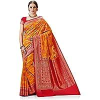 Meghdoot Women's Woven Kanchipuram Spun Silk Saree Mustard and Red Color Sari
