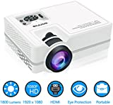 Video Projector, WONNIE 1800 lumens LCD Multimedia Home Theater Support 1080P, HDMI, USB, VGA, AV for Home Cinema, TV Box, Laptops, Games, Smartphones