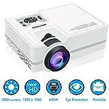 Beamer 1080P, WONNIE Video Projektor 1800 Lumen LCD Multimedia Heimkino Unterstützung, HDMI, USB, VGA, AV für Heimkino, TV Box, Fernseher, Laptops, Spiele, Smartphon