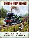 Londres - Edimburgo. The Vuelo Scotsman Tren Retrato. Llegando fuera un túnel por niños en una campo. Vapor locomoción motor. Temprano 20 siglo. Del rey Cruz 10:00. Metal/Cartel De Acero Para Pared - 15 x 20 cm