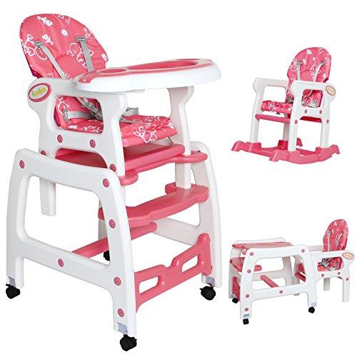 Seelux Mulitifunzionale Seggiolini per bambini multifunzioni 3 in 1 - seggliolino, tavolino e sedia a dondolo per bambini da 6 mesi a 6 anni con quattro colori a sclta. (pink)