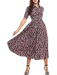 Acevog Maxi Vestido Bohemio de Estampado Floral de Impresión Manga Corta de Fiesta para Mujer de Verano