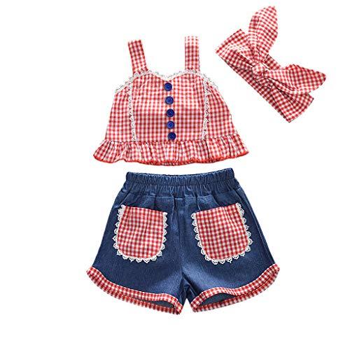 Zegeey Baby MäDchen Bekleidungssets Outfits Plaid Weste Tops T-Shirts Tee Blusen Denim Shorts Hosen Set Geburtstag Geschenk SchöN(rot,90-100cm) (Plaid Blazer Gelb)