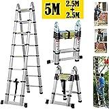 Zange Alu Teleskopleiter 5m (2,5m + 2,5m), A-Frame Schritt Verlängerung Tragbare Leitern für Outdoor Indoor Home Loft Office