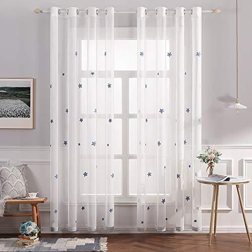 MIULEE Cortina Visillo Bordado Translucido Dormitorio