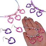 German Trendseller® - 3 x set de bijoux┃collier et boucles d'oreilles┃avec couers┃ petit cadeau┃Sweet Heart┃anniversaire d'enfant┃3 colliers + 3 pairs de boucles d'oreilles