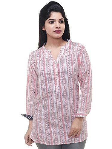 Twist Women's Multicolor Printed Party Wear Casual 3/4th Sleeve Short Kurti Tops,(XL)...