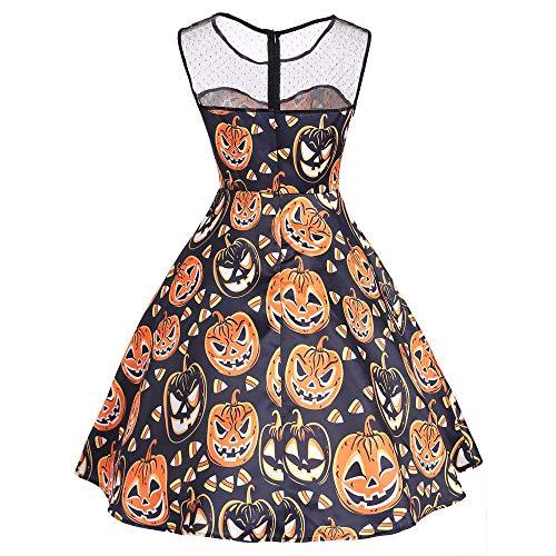 Plot Damen Halloween O Ausschnitt Drucken Ärmellos Vintage Party Swing Kleid,Kleid...