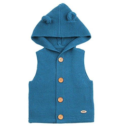 Kapuze Weste Kleinkind Kinder, DoraMe Baby Mädchen Jungen Winter Warme Kleidung Dicken ärmellose Mantel Outwear Mode Solide Bluse für 3-24 Monate (Blau, 18 Monate) Kleinkind-blau Strickjacke