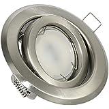 Grosser Einbaustrahler + 230Volt 5Watt 450Lumen LED warmweiss Abstrahlwinkel: 90Grad + 230Volt Leuchtmittelfassung | 2 Jahre Garantie | Lochmaß: 70-85mm, Einbautiefe: 60mm