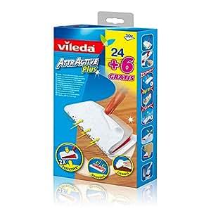 Vileda - 131396 - Lingettes Dépoussiérantes pour Balai Attractive Plus - Pack de 24 + 6 Gratuites - Lot de 2