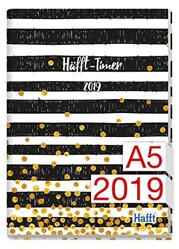 Häfft-Timer A5 JANUAR - DEZEMBER 2019 [Black & White] Fadenheftung, Hardcover