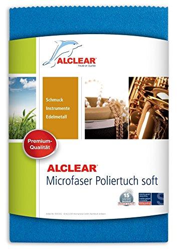 ALCLEAR 950024 Spezial Microfaser Poliertuch für die perfekte Reinigung von empfindlichen Oberflächen, Objektiven, Schmuck etc. 40 x 40 cm, blau.